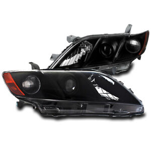 For 2007 2008 2009 Toyota Camry Black Set Projector Headlights Headlamps New