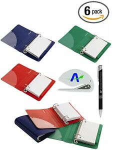 6 Pack Oxford Poly Index Card Binders 3 X 5 Inches Includes 50 Pre Punched