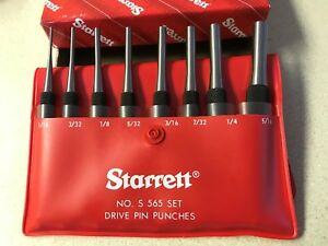 Starrett 8pc Drive Pin Punch Set In Case s565pc 52587