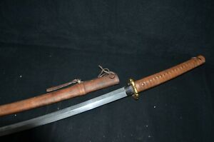 Special Offer Collectable Japanese Samurai Sword Signed Blade Oxhide Sheath 1