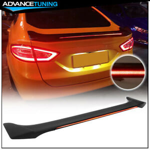 Fits 13 18 Ford Fusion Trunk Spoiler W Led Matte Black Abs