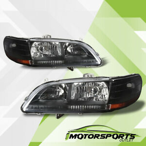 For 1998 1999 2000 2001 2002 Honda Accord Black Jdm Style Headlights Pair