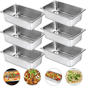 Steam Table Pans Bain marie 6 Pack Hotel Buffet Pans Food Warmer Stainless Steel