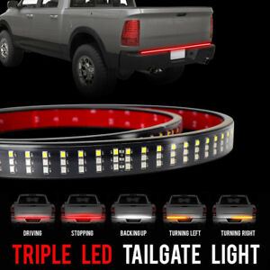 60 Truck Led Tailgate Light Bar Strip 3 Row Red White Yellow Waterproof Running