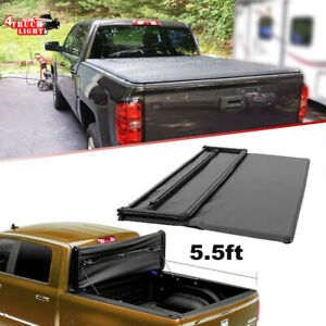 Fit For 2014 2018 Ford F 150 5 5 Ft Soft Tri Fold Tonneau Short Bed Cover