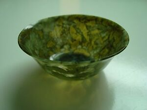 Antique Chinese Carved Spinach Green Jade Thin Translucent Bowl 2 15 16 Diam