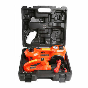 12 Volt Electric Floor Jack 3 Ton 2 In 1 Orange Tire Inflator Impact Wrench