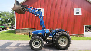 2004 New Holland Tn65 4x4 Utility Farm Tractor W Loader 65hp Left Hand Reverser