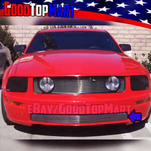 For Ford Mustang Gt V8 2005 2006 2007 2008 2009 Polish Bumper 1pc Overlay Grille