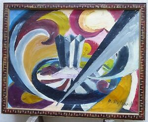 Vintage Italian Abstract Modernist Oil Painting Mid Century Color Signed 1950s