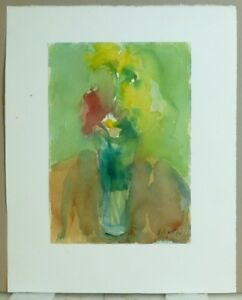 Vintage Abstract Modernist Botanical Watercolor Painting Mid Century 1968 4