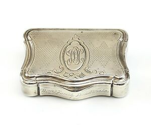 18th 19th Century Continental Silver Finely Engraved Trinket Box Wt 68 98 Grams