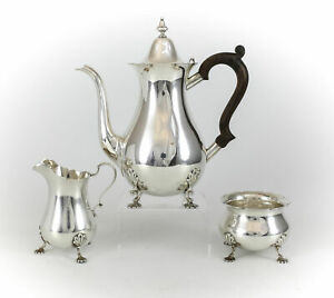 3pc Set Graff Washbourne Dunn Sterling Silver Coffee Tea Service C 1920