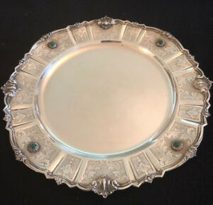 Silver 800 Italian Milan Mark Platter Cir 1935 With Semi Precious Stones