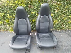 Porsche 986 Boxter 996 993 911 Front Black Leather Seats Left Right S Recaro