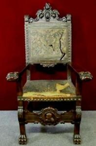 Throne Chair Gothic Figural Regal Coat Of Arms Rare