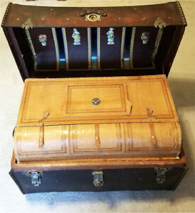 Antique Leather Dome Top M M Secor Steamer Trunk