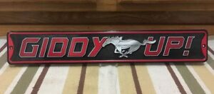 Giddy Up Mustang Ford Metal Garage Shop Man Cave Gas Oil Parts Engine Car Auto