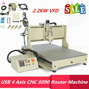 Usb 6090 Cnc Router 4axis Engraving Milling Machine 3d Water cooled 2200w Vfd