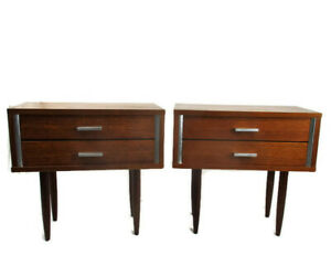 Retro Pair Couple Vintage Nightstands End Tables Mid Century Danish Modern