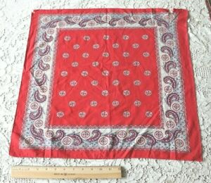 Vintage Antique French Cotton Turkey Red Navy Blue Bandana C1910 L 21 X W 20