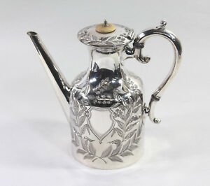Vintage Silverplate Coffee Hot Water Pot With Etched Floral And Foliate Design