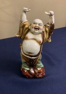 Chinese Antique Famille Rose Porcelain Happy Buddha Statue 8 3 4 Tall By 3 Wide