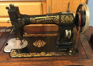 Antique White Rotary Treadle Sewing Machine With Original Oak Cabinet