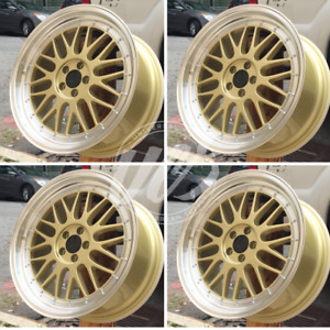 Brand New Set Of Four 19 X 9 5 Lm Style Gold Face Rims Wheels Fits 5x114 3