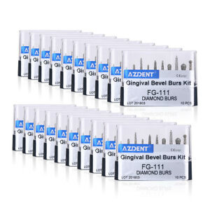 Usa 100 X Dental Diamond Burs Set Fg 111 Gingival Bevel Bus Kit 10pcs kit Azdent