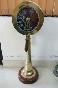 Collectible Ship Engine Telegraph 36 Inch With Wooden Base Functional Ring