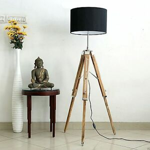 Designer Nautical Floor Lamp Lighting Home Decor With Wooden Tripod Stand