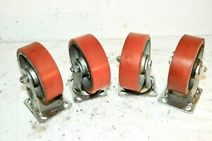 Set Of 4 Vintage Heavy Duty Poly Casters 2 X 6 Two Swivel Two Do Not