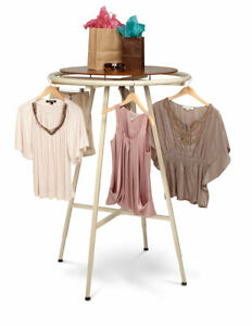 Round Clothing Rack Ivory 48 72 h Adjustable In 3 Increments