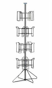 4 tier Chrome Rotating Standing Literature Rack 64 h X 16 d 16 Pockets Total
