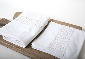 Antique White Duvet Cover Monogram Linen Baby Embroided French Style Beddings