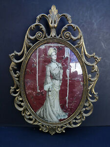 Ornate Brass Oval Photo Picture Frame Convex Glass Italy Made 10