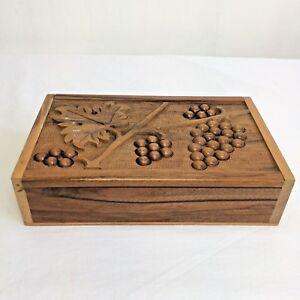 Vintage Wooden Box Carved Grapes Jewelry Sewing 22x13x5cm