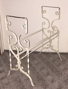 Vintage White Scroll Wrought Iron Patio Plant Stand Side Table Base Legs Parts