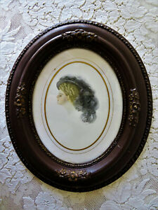 Beautiful Victorian Antique Vintage Wood Framed Gibson Girl Lithograph Print