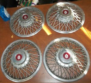 Set Of 4 14 Oldsmobile Cutlass Wire Spoke Hubcaps Wheel Covers