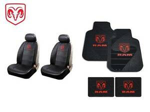 8 Pc Dodge Ram Syn Leather Seat Covers Front Rear Rubber Floor Mats W Logo