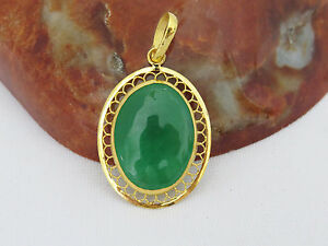 Vintage 24k 980 Solid Gold Naturaloval Apple Green Jadeite Jade Filigree Pendant