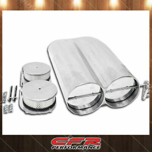 Fits Chevy Ford Mopar Shotgun Style Aluminum Double Scoop Dual 4 Barrel Smooth