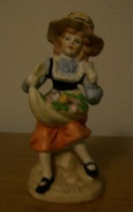 Collectible Vintage Porcelain Figurine Little Girl With Hat