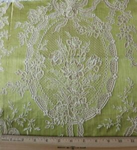 Antique French Victorian C1880 Chartreuse Silk Fabric Bow Florals 14 X 19