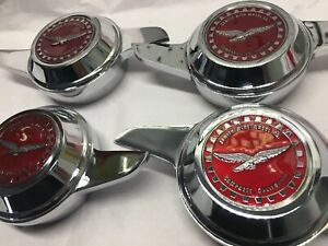 Lowrider Hydraulics Wire Wheel Knock Offs 4 Zenith Emblems Candy Red New
