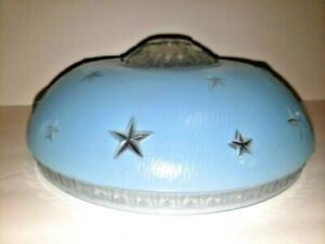 Vintage Blue Glass Art Deco Starburst Stars Ceiling Chandelier Light Shade
