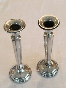Sterling Silver Weighted Candlestick Holders 2 M Fred Hirsch Art Deco 1920 1945