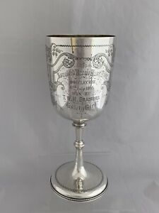Huge Victorian Silver Goblet Trophy Cup Beagle Race 1892 London Sterling Silver